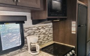 Rental RV stovetop, and window