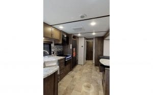 Rental RV kitchen and eating area