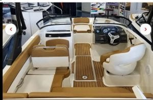 Interior view of a Bayliner boat