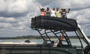 Boat with slide and 5 ladies waving #2