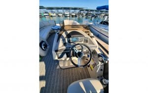 Boat console with sitting around table
