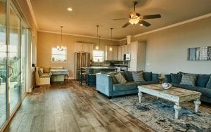 Interior lakehouse rental living room kitchen an eating area